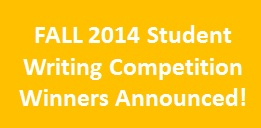 Fall 2014 Student Writing Competition Winners Announced